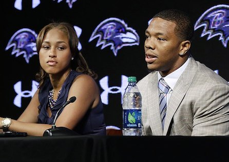 Ray Rice and Janay Palmer at their press conference in May